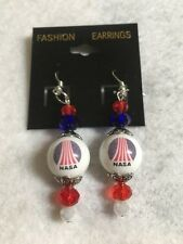 NASA EARRINGS GLASS BEAD JEWELRY SPACE SHUTTLE ASTRONAUTS  COLLECTIBLE