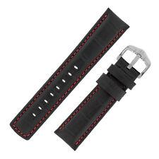 Hirsch GRAND DUKE Waterproof Alligator-Embossed Padded Watch Strap in BLACK/RED