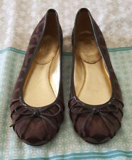 COACH Brown Black Monogram Slip On Ballet Mary Janes Flats US 5.5 Bow