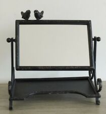 Distressed Black Metal Vintage Mantle Dressing Table Vanity Mirror NEW Birds
