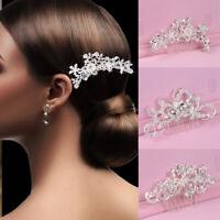 Women Wedding Hair Comb Crystal Pearl Headband Bridal Access Headpiece Jewelry