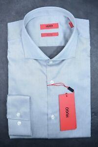 Hugo Boss Men's Jason Easy Iron Slim Fit Sold Gray Cotton Dress Shirt 37 14.5