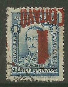 STAMPS-COLOMBIA. 1932. 1c on 4c Blue. Variety Surcharge Inverted. SG: 427a. FU.