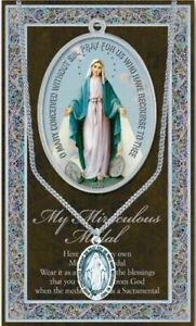 """Pewter - Miraculous Medal - 3/4"""" medal attached to chain & Pamphlet"""