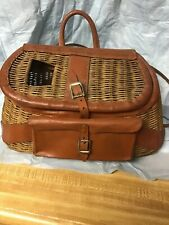 Vintage Wicker & Leather Fly Fishing Trout Creel Basket & Front Pouch & Ruler