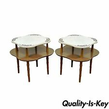 Pair of Vintage Modern Hollywood Regency Marble Top Faux Bamboo Wood End Tables