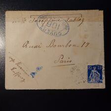 SUISSE SCHWEIZ LETTRE CENSURE MILITAIRE N°106 CENSOR COVER ZURICH -> PARIS
