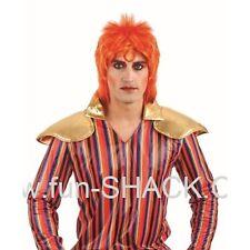 Ginger Glam Rock Perruque David Bowie Punk Rocker Hommes Fancy Dress Costume