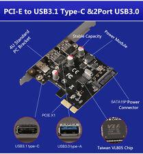 High Speed PCI-E to 2 Port USB 3.0 & USB 3.1 Type C Converter Adapter VLI Chip