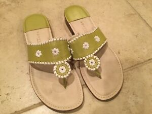 Apostrophe Womens 10 White Green Brazil Leather Thong Flip Flop Sandals Jaquie