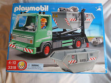Discontinued-Playmobil-3318-Skip-Lorry-Truck-w-Container, Rocks New