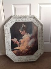 LARGE VINTAGE OCTANGLE SHABBY CHIC PAINTED PICTURE & FRAME GIRL READING BOOK