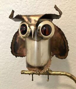 Vtg 1971 Owl on Branch Sculpture Signed Curtis Jere MCM Amber Eyes Stone Base