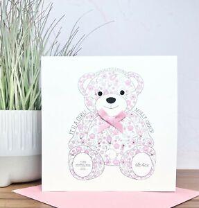 Personalised Handmade New Baby Card Boy Girl