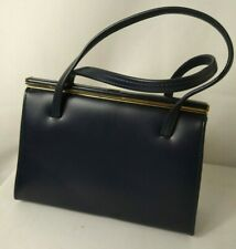 VINTAGE Ladies handbag in navy blue leather unbranded with double carry handles