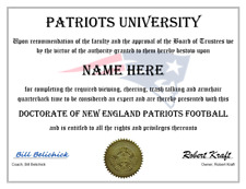 NEW ENGLAND PATRIOTS PERSONALIZED FAN CERTIFICATE, GREAT GIFT