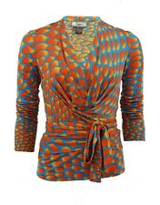 ISSA LONDON Multicolor Long Sleeve Print Wrap Top UK8 US4