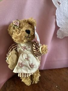 Miniature Plush Girl Teddy Bear In Embroudered Dress Holding Her Own Teddy