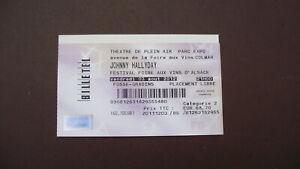 JOHNNY HALLYDAY BILLET CONCERT 2012  COLMAR VINS ALSACE CD VINYLE PHOTO 33T 45T