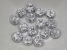 "100 Silver Round Flatback Resin Dotted Rhinestone Beads 10mm(3/8"")"