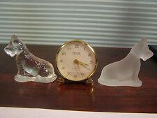 Vintage Miniature Relide Wind Clock 8 Day 7 Jewel Swiss w/ Glass Scottie Dogs