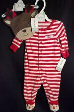 NWT Infant Carter's Santa Claus Fleece Footie Pajamas + Bib 3m Christmas Holiday