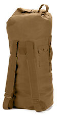 Military Canvas Duffle Bag Double Straps Backpack Coyote Brown Rothco 3426