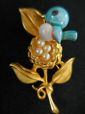 Signed Gold Crown Enamel Blue Bird Trembler Birds Nest Brooch Pin