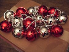 15 JUMBO BELLS CHRISTMAS DECORATIONS RED AND SILVER
