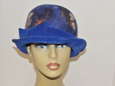 Vintage 1960's Royal Blue Feather / Velvet Hat Sm - Med