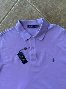 Polo Ralph Lauren Mesh Polo Shirt 2XLT Purple w/Green Pony Classic Fit NWT $98