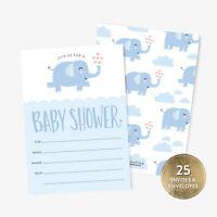 25 Baby Shower Envelopes, Blue Elephant  Style Invitation Thank You Postcards
