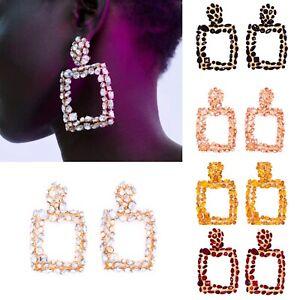 New Diamante Gold Rhinestone Crystal Rectangle Boho Style Earrings Ear Drop UK