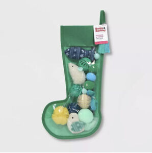 Boots & Barkley Christmas Green Holiday Stocking 10 Piece Cat Toy Gift
