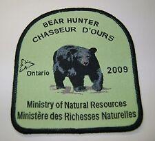 2009 ONTARIO MNR BEAR HUNTING PATCH moose,deer,elk,hunter,canadian,patches,badge