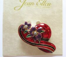 Pin/Brooch - HAT - gold tone- red with black stripe-purple flower sparkly stone