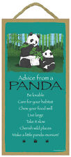 ADVICE FROM A PANDA wood INSPIRE SIGN wall hanging NOVELTY PLAQUE bear animal