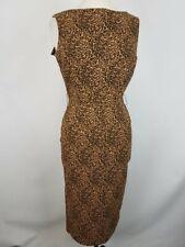 Bettie Page  Women's Black/Brown Jaguar Print Sleeveless Sheath Dress Sz M