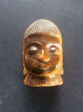 Vintage Carved Stone Asian Oriental Head Buddha Deity Carving poss Tigers Eye