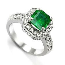 18k Solid White Gold Diamond Emerald Anniversary Ring
