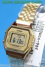 LA680WGA-9D Gold Casio Stainless Steel Watch Lady Stopwatch Alarm Digital New !
