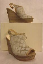 Coach Janet Light Khaki Sand Wedge Platform Heel - Size 9.5