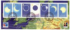 ALDERNAY Bloc N°22 de 6 timbres+label: oblitérés :total solar eclipse   52mBL98