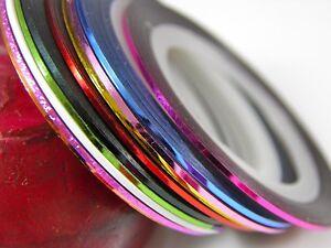 10 Colour Rolls Nail Art Lace Tape Line Strips False Nails Decoration Stickers