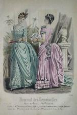 GRAVURE COULEURS MODE FEMININE TOILETTES EVENTAIL FLEURS BOUQUET FEVRIER 1885