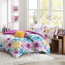 Pink, Blue & Yellow Flowers Twin Comforter, Sham & Toss Pillows 4 Pc Bedding