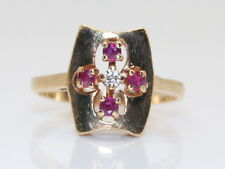 Nice Estate 10K Gold .10 Ct Ruby & Diamond Unique Cross Shaped Ring Size 7.25