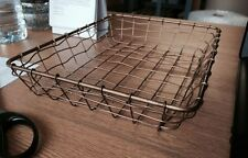 Small Low Brass Wire Basket Desk Top Storage Office Paper Tray Organiser Tidy