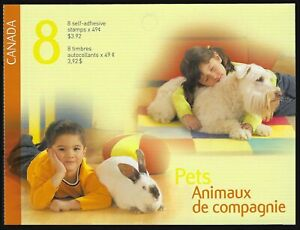 Canada BK297: two pane of 4 x 49c Pets, open cover, Scott 2060a