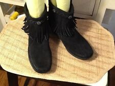 Minnetonka Black Suede Fringe Ankle Boots With Studs -- Womens 8 M